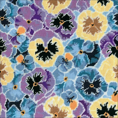 click here to view larger image of Pansies Needlepoint Kit (needlepoint kits)