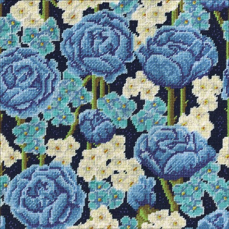 click here to view larger image of Blue Roses Needlepoint Kit (needlepoint kits)