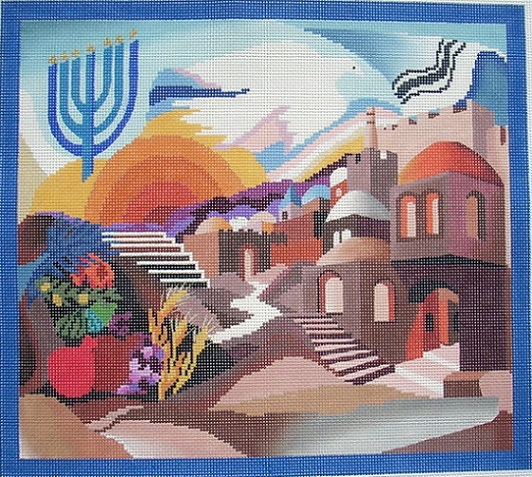 click here to view larger image of Pray For The Peace of Jerusalem Taleis Bag (hand painted canvases)