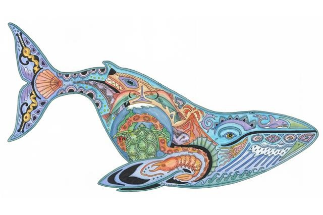 click here to view larger image of Blue Whale (hand painted canvases)
