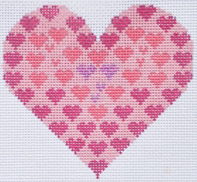 click here to view larger image of Small Pink Hearts Heart (hand painted canvases)