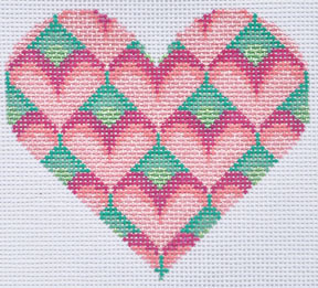 click here to view larger image of Pink/Green Heart (hand painted canvases)