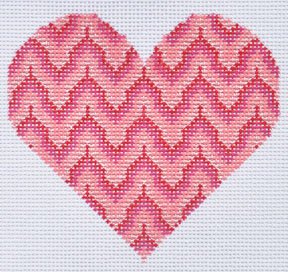 click here to view larger image of Pink Bargello Heart (hand painted canvases)