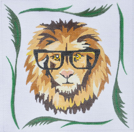 click here to view larger image of Lion with Glasses (hand painted canvases)