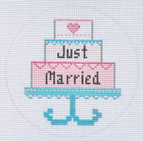 click here to view larger image of Just Married Cake Ornament (hand painted canvases)