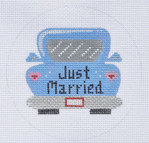 click here to view larger image of Just Married Car Ornament (hand painted canvases)