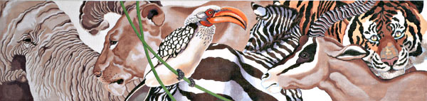 click here to view larger image of Wild Animals Table Runner (hand painted canvases)