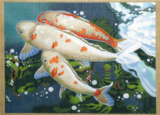 click here to view larger image of Carp Detail #2 (hand painted canvases)
