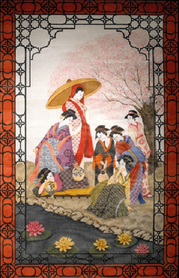 click here to view larger image of Seven Geishas Wall Hanging (hand painted canvases)