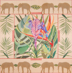 click here to view larger image of Bromeliad & Birds Of Paradise/Elephant Border (hand painted canvases)