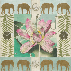 click here to view larger image of Lotus/Elephant Border (hand painted canvases)