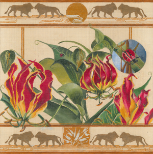 click here to view larger image of African Gloriosa Lily/Lions (hand painted canvases)