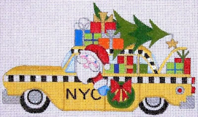 click here to view larger image of Santa Taxi Cab (hand painted canvases)