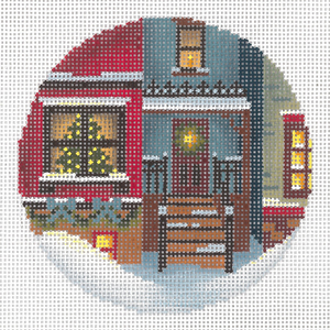 click here to view larger image of Christmas Eve Town #2 Ornament (hand painted canvases)