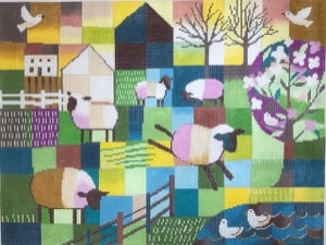 click here to view larger image of Frolicking Sheep (hand painted canvases)