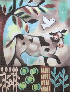 click here to view larger image of Cow In The Garden (hand painted canvases)