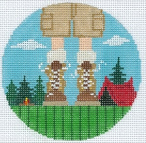 click here to view larger image of Camping Feet - Boy (hand painted canvases)
