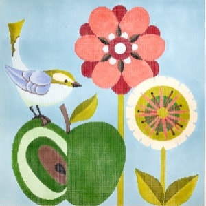 click here to view larger image of Bird and Apple (hand painted canvases)