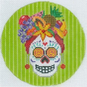 click here to view larger image of Sugar Skull - Round (hand painted canvases)