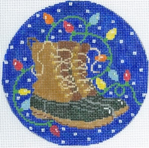 click here to view larger image of Bean Boots and Bulbs Ornament (hand painted canvases)