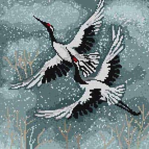 click here to view larger image of Flying Cranes (hand painted canvases)