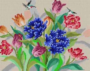 click here to view larger image of Tulips & Hummingbirds (hand painted canvases)