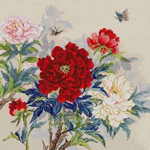 click here to view larger image of Peonies & Butterflies (hand painted canvases)