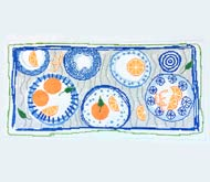 click here to view larger image of Blue Plate Bolster (hand painted canvases)