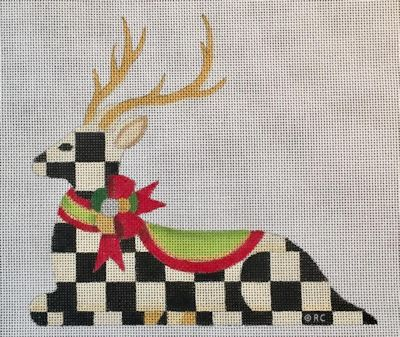 click here to view larger image of Reclining Checked Reindeer (hand painted canvases)
