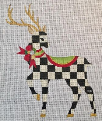 click here to view larger image of Standing Checked Reindeer (hand painted canvases)
