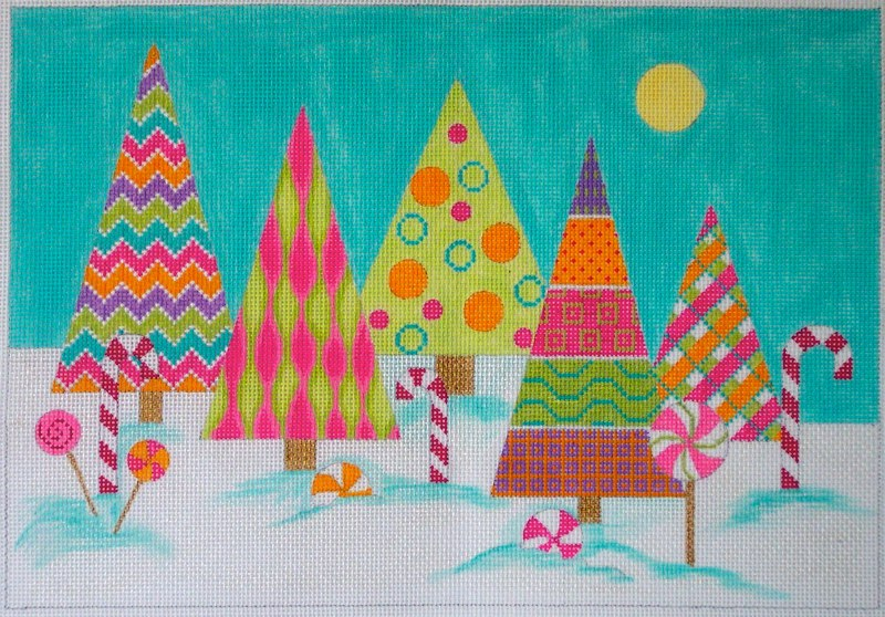 click here to view larger image of Candy Land Christmas Trees (hand painted canvases)