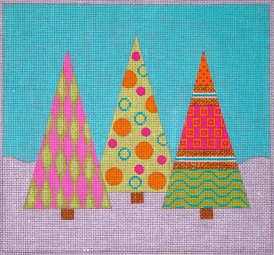 click here to view larger image of Candy Land Christmas Trees Trio (hand painted canvases)