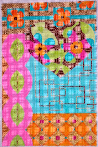 click here to view larger image of Heart Blooms Mod Collage (hand painted canvases)