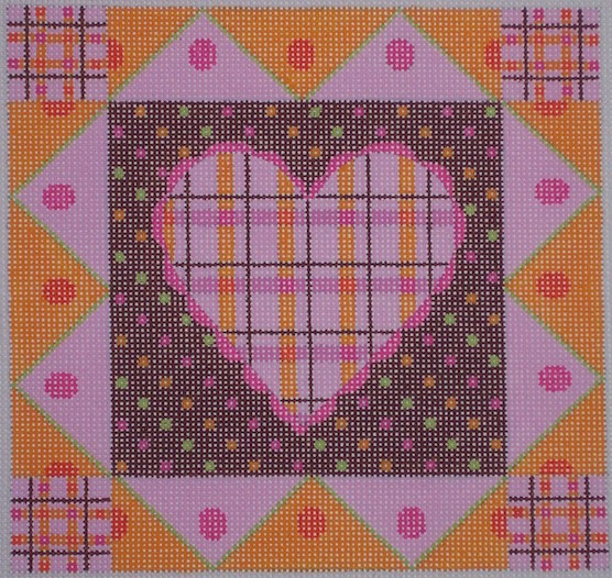 click here to view larger image of Pink Plaid Heart (hand painted canvases)