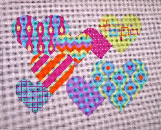 click here to view larger image of Pattern Hearts (hand painted canvases)