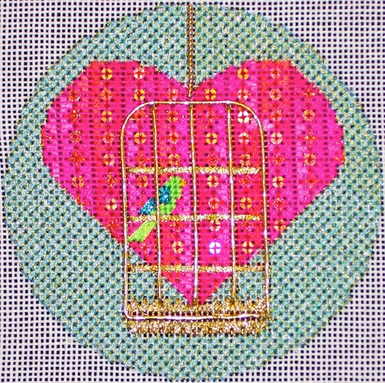 click here to view larger image of Birdcage Heart (hand painted canvases)