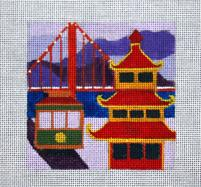 click here to view larger image of San Francisco - Travel Coasters (hand painted canvases)
