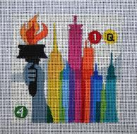 click here to view larger image of New York - Travel Coasters (hand painted canvases)