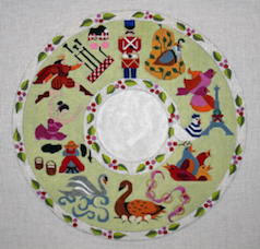 click here to view larger image of 12 Days of Christmas Wreath (hand painted canvases)