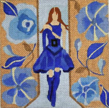 click here to view larger image of Blue Dress - Windows of Milan (hand painted canvases)