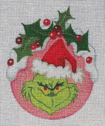 click here to view larger image of Grinch Holly Ornament - 18ct (hand painted canvases)