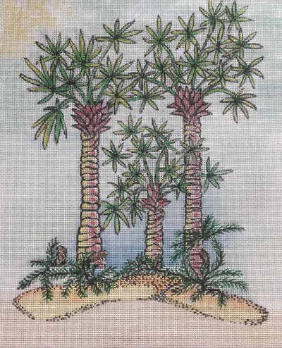 click here to view larger image of Three Palms - 18ct (hand painted canvases)