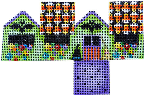 click here to view larger image of Halloween Bats/Candy Corn Mini Cottage (hand painted canvases)