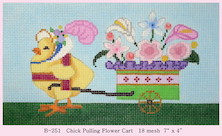 click here to view larger image of Chick Pulling Flower Cart (hand painted canvases)