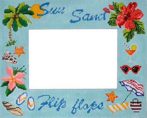 click here to view larger image of Sun Sand Flip Flops Picture Frame (hand painted canvases)