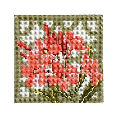 click here to view larger image of Trellis Coaster - Oleander (hand painted canvases)