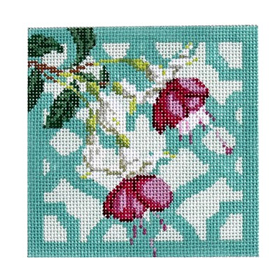 click here to view larger image of Trellis Coaster - Fuchsia (hand painted canvases)