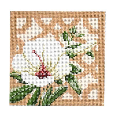 click here to view larger image of Trellis Coaster - Hibiscus (hand painted canvases)