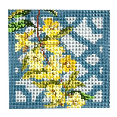 click here to view larger image of Trellis Coaster - Jamine (hand painted canvases)