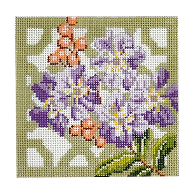 click here to view larger image of Trellis Coaster - Crepe Myrtle (hand painted canvases)